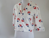 Vintage 1960s Shirt Stars and Stripes Red White and Blue Cotton by Specialty House Sz S B36 W32