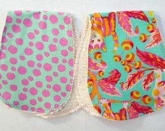 Set of Two Burp Cloths - Tula PinkTabby Road Burpies Baby Girl