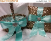 ON SALE NOW Sequin Ring Pillow or Basket -Colors- Flower Girl -Ringbearer, Rose Gold, Wedding, Bridal, Sequin,  Ribbon Choice, Bling Diamond