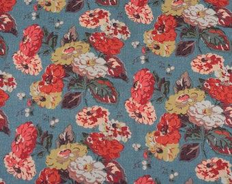 4010 - Cath Kidston Autumn Bloom (Cadet Blue) Cotton Canvas Fabric - 57 Inch (Width) x 1/2 Yard (Length)