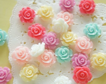 18 pcs Teeny Lovely Color Rose Cabochon (14mm) FL454