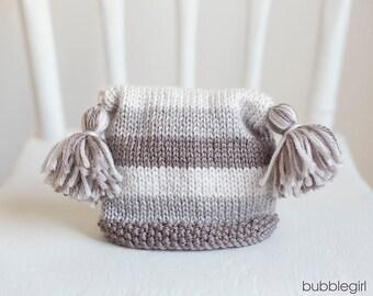 Newborn Striped Tassel Hat, Browns,  READY TO SHIP Newborn Photo Prop