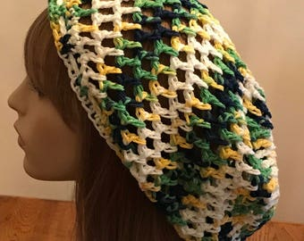 Cotton Open Stitch Slouchy Beanie in Blue, Green, White and Yellow