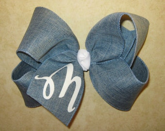 CUSTOM X-Large 6 inch Denim Fabric Monogrammed Personalized Initial Letter Big Boutique Hair Bow