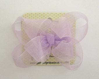 Medium Double Layer Loopy Style Organza Hair Bow in Light Orchid Pale Pastel Lavender