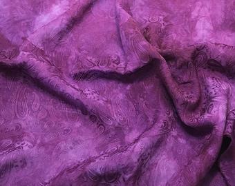 "Hand Dyed Eggplant Purple PAISLEY - Silk Jacquard Fabric - 9""x22"" remnant"