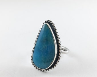 Nacozari Turquoise READY TO SHIP Sterling Silver Ring Boho Chic Statement Jewelry Southwestern