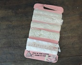 5 Vintage Lace Trims for Clothes or Home, 1950s cotton laces on card from Winsome Lady Fabrics Novelty Crafts