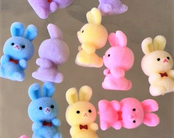 12 Flocked Fuzzy Bunnies Bunny Rabbit Easter Baby Blue Pink Toppers Embellishments Gift Party Mini Baby Shower Gift Favors Decor