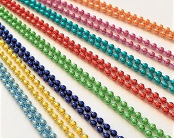 FAST SHIPPING 20 Fancy Colored  Ball Chains Necklaces 24 inches Blue Green Pink Purple 2.4mm