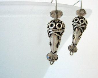 Earrings- Bali silver bead - Smoky Quartz Rondells - Sterling silver- Handmade sterling silver hooks-Fashion accessory