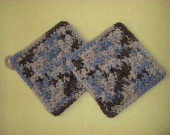 Two Bumpy Cotton Washcloths, handmade crochet washcloth dishcloth set - blue, tan, and brown, Earth Ombre