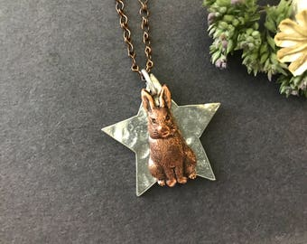 Rabbit Necklace, Silver Star Necklace, Bunny Necklace, Hammered Star, Easter Bunny, Easter Necklace, Copper Ox, Woodland Animal, Be A Star