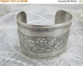 SALE Embossed Wide Silver Cuff With Floral Design