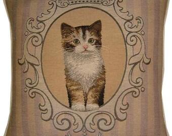 Tortoishell Kitten in Frame Tapestry Cushion Cover Sham