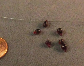 Red Garnet Semiprecious Beads Gem grade 8 pieces briolet 7.2 ct tw 4x6mm