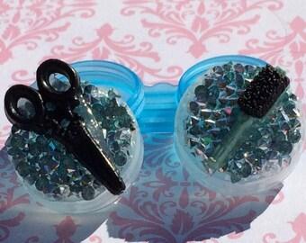 Hairstylist Haircut Salon Scissors Hairbrush brush Stylist Custom Contact Lens Case Holder Eye Lenses Plastic Kawaii