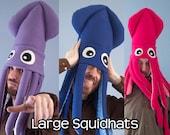 Large Plush Squid Hat Fleece Many Colors