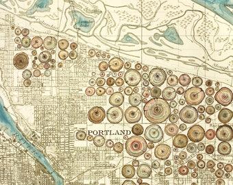 Stumptown Portland painting on vintage map, Portland city art, Oregon painting print