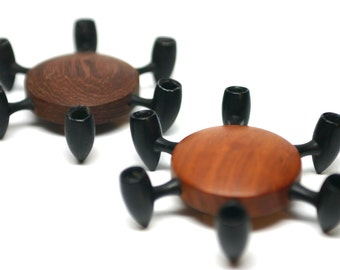 Digsmed Wood and Cast Iron Candle Holders - Pair - Made in Denmark - Tiny Tapered Candles