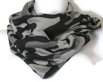 Gray Camo Infinity Scarf Grey Camo Infinity Scarf Camo Infinity Scarves for Women Black and Grey Camouflage Scarves Black and Gray Camo