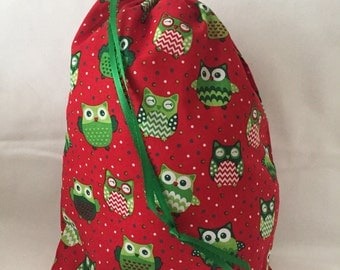 Christmas Fabric Gift Bag  Eco Friendly Bag  Drawstring Reuseable wrap --size 11.5 inches x 14 inches Red and Green OWLS