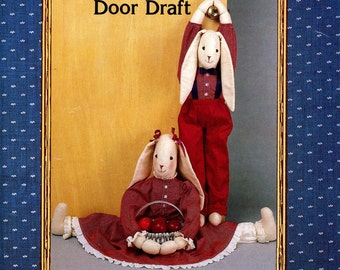 Ozark Crafts Country Patterns Bobbie and Bunny Rabbit Door Draft Stuffed Fabric Decoration Toy Uncut Vintage Sewing Craft Pattern 1988