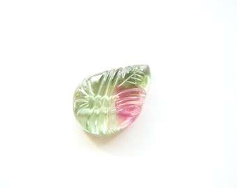RESERVED - Custom Listing - Watermelon Tourmaline Carved Drop - Single - 10.5x14mm