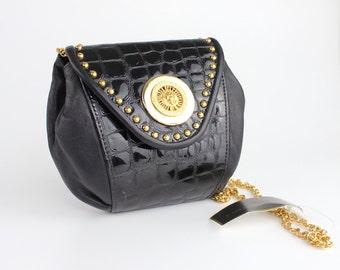 Vintage Mini Leather Purse | Black Patent Leather Bag with Chain Link Strap | Embossed Crocodile Shoulder Bag