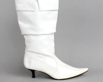 size 8.5 | Vintage Viade Ciclemini Patent Leather Boots | Mod Pointed Toe White Leather Boots | Sleek Leather Lined High Heel Boots | 39