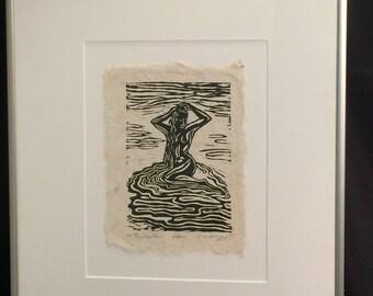 FRAMED 12X16 Woodcut Original Print Woman Bathing Washing Hair Classic Beauty Water HM Paper
