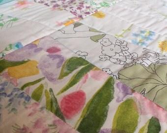 Vintage Sheet Modern Block Quilt - Pink, Green, Blue, White, Yellow, Orange