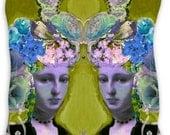 Crown, twin, ladies, headress, pillow, pink, roses, statue, vintage, pink, green, aqua