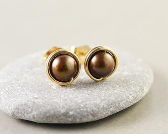 Brown Pearl Studs, Gold Earrings, Pearl Posts, June Birthstone