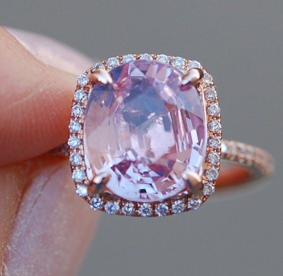 Pink Sapphire ring 14k rose gold diamond  Engagement Ring 2.3ct Cushion Peach Pink Champagne sapphire