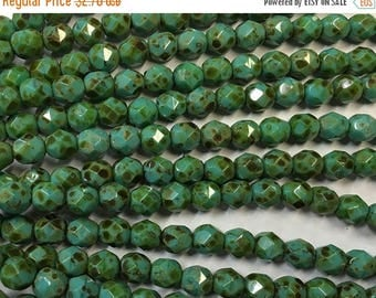 ON SALE Crystals 6mm Turquoise Opaque Picasso Czech Glass Fire polished Crystal Beads