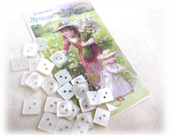 25 Square Vintage White Buttons for Sewing Crafts Scrapbooking Cardmaking Jewelry