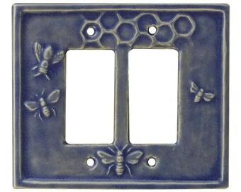 4 Bees Ceramic Double Rocker Switch Plate in Light Blue Glaze