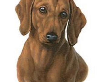 "DACHSHUND Red Smooth Dog Head by Gibson on ONE 16 inch square Fabric Panel to Sew. Actual Picture is approx 8"" x 11""."
