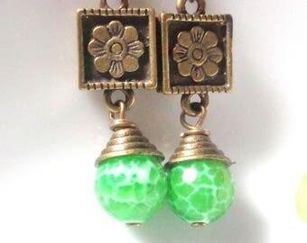 Green Earrings,Agate Earrings, Dangle Earrings Mint green Earrings, Brass Earrings