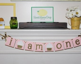 pink gold birthday cupcake decoration decor highchair banner smash cake I AM ONE with BOWS first 1st