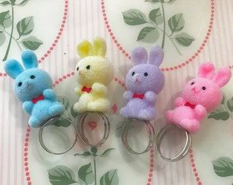 Fuzzy Baby Bunny or Teddy Pastel Flocked Figure Ring