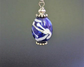 Blue and White Streaks Enameled Glass Bead