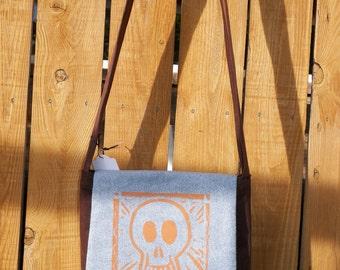 Handy Hip Bag Cross Body Shoulder Bag Orange Smiling Skull Brown