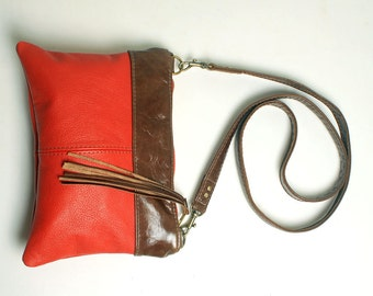 Mini Cross body Purse in Christmas Red Leather with Removable Strap Clutch Bag