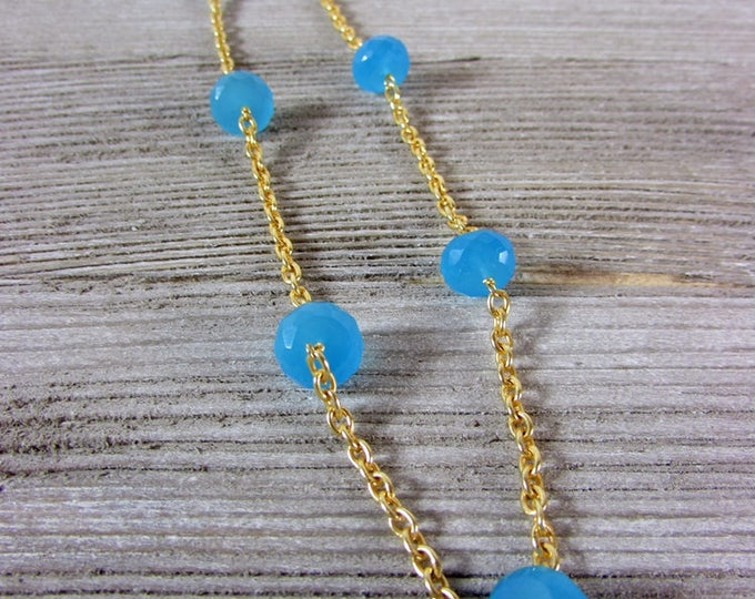 Blue Chalcedony & Gold Necklace, Gemstone Necklace, Chain Necklace