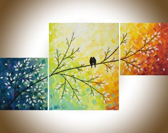 "Colorful painting Abstract art set of 3 wall art acrylic love bird painting home decor canvas art shabby chic ""Warm Winter"" by QIQIGALLER"
