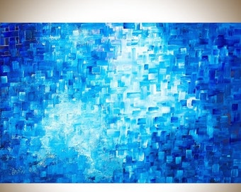 """36"""" Abstract painting blue art Original painting large wall art wall decor painting on canvas blue home decor mixed """"Healing"""" by qiqigallery"""