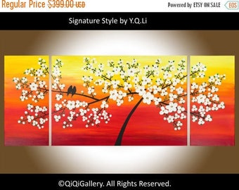 Cherry blossom love birds painting Extra large canvas painting wall art wall decor Easter by qiqigallery