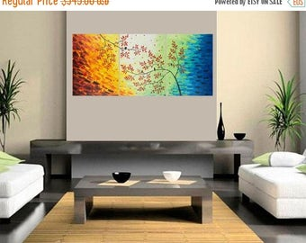 """Extra large canvas art colourful set of 3 painting love birds acrylic impasto canvas painting wall decor""""Autnmn Symphony"""" by QiQiGallery"""